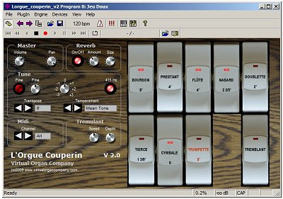 l'orgue couperin v2 vst virtual french baroque organ software module screenshot from virtual organ company