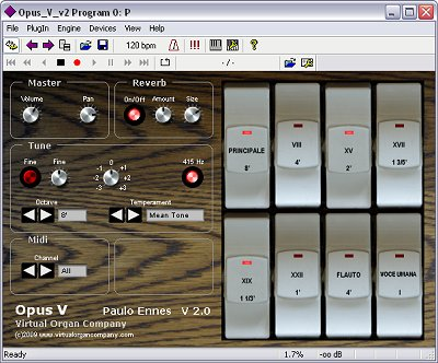virtual organ company opus v v2 virtual vst church organ software module screenshot