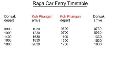 raga car ferry timetable