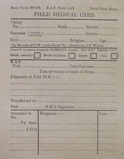 Parachute Field Ambulance  Field Medical Cards