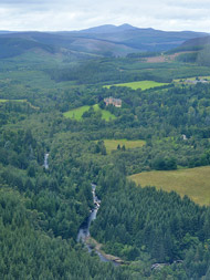 aerial photo of ardross castle and river alness, ross-shire
