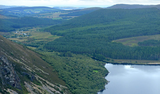 aerial photo of loch morie and river alness, ross-shire