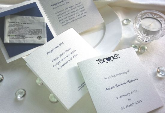 funeral seed cards with forget-me-nots