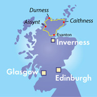 map of fly fishing excursion destinations, northern highlands of scotland