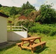 Outdoor seating area in garden