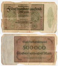 German Weimar Republic Hyper-inflation note for 500,000 marks