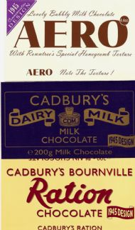 Cadbury labels of 1945 design reissued for VE day 50th ann.