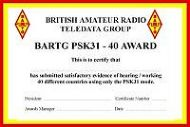 BARTG PSK31 Award