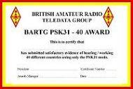BARTG PSK31 Award