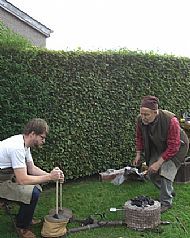 Daniel Salen  our clay expert helping Neil out with the bellows