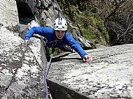 Ben climbing Shepherd's Chimney on Shepherd's Crag - Borrowdale