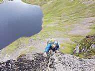 Charlie climbing Golden Slipper on Pavey Ark, Lake District