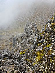 Paul on the upper section of Tower Ridge, Ben Nevis