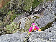 Antonia climbing Rope Not on White Ghyll, Langdale