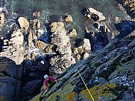 Antonia climbing ordinary route on the Souter