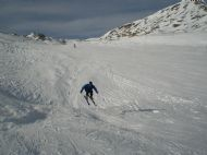 Getting some air whilst skiing in Tignes