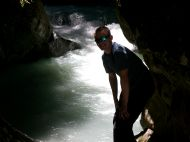 At the 'Pont Nature' to the South of Les Contamines on the Tour of Mont Blanc