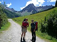 Walking up to La Balme mountain hut in the Alps