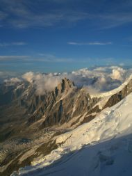 Looking down on to the Aiguille Du Midi from just above the Gouter Hut