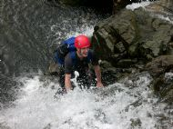 Mike enjoying the ghyll scrambling in Sourmilk Ghyll, Grasmere - Lake District