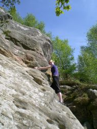 Climbing on Far South Buttress - Corby's Crag, Northumberland