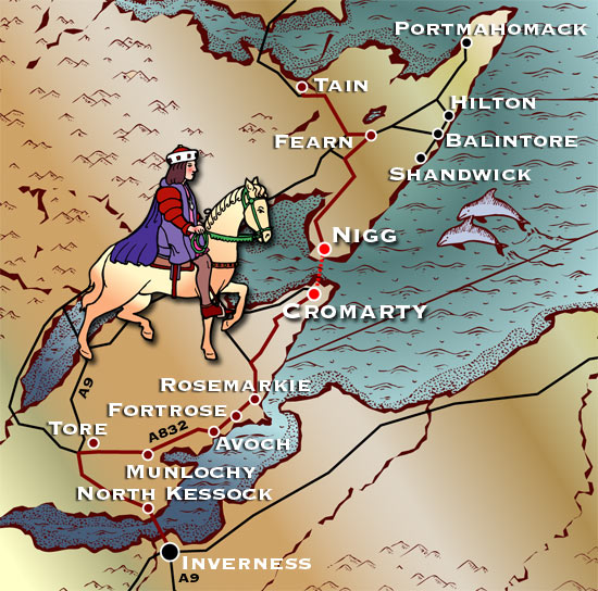 cromarty ferry - the king's route map