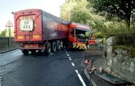 HGV RTI on A70 at Newmains Home Farm entrance, Douglas