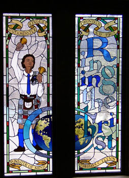 stained glass window depicting handbell ringer in southminster presbyterian church, pittsburgh, usa http://www.spchurch.org/pages/_home.asp in recognition of the 25th anniversary of the handbell ensemble southminster ringers (founded in 1969) http://southminsterringers.org/ and their founder thomas c flynn.