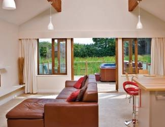 check out the stylish log cabin interiors
